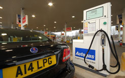 A Saab filling up with LPG