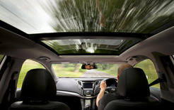 A business car driver at the wheel of a Hyundai i40 - always make sure you have adjusted the head restraint correctly, advises Caroline Holmes, to avoid potential whiplash injuries