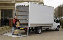 Ford Transit box van being unloaded, but deliveries will become more expensive now that diesel has reached a new cost peak
