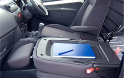Citroen Nemo front seat folds down to provide useful worktop