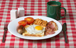Full English breakfast with a mug of tea