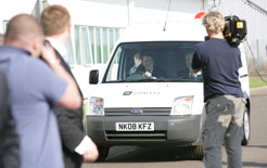 Rt Hon Lord Mandelson, Secretary of State for Business, Enterprise &#038; Regulatory Reform, drives a Smith Ampere electric van in a visit to the Smith Electric Vehicles </p>  <div class=