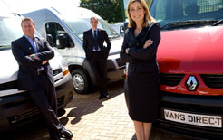 The new Vans Direct management team: chief executive Langley Davies, commercial director Edward Pigg and operations director Jane Pocock