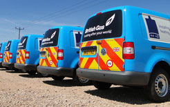 British Gas VW Caddy vans. The British Gas fleet is helping SMEs improve road safety