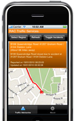RAC's free iPhone and Android traffic information app