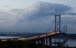 Dusk over the Firth of Forth bridge