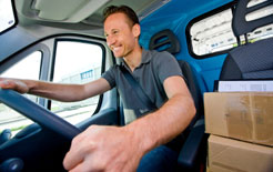 Owner-operator driving a delivery van