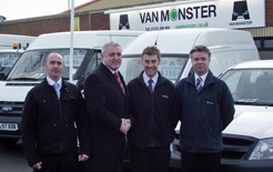 Gary Sullivan, managing director Van Monster (second from left), is pictured with Geoff Earl, sales manager at the new Darlington complex flanked by John Pattison, the centre's yard supervisor (first left) and sales executive Mark Hughes (right).
