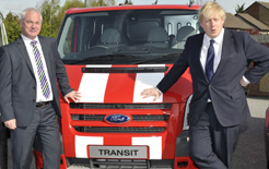Ford commercial vehicle director, Steve Clary, and London Mayor Boris Johnson at the launch of the Ford LEZ scrappage scheme
