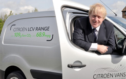 London Mayor Boris Johnson with a Citroen Berlingo, one of the vans Citroen is offering as part of its LEZ incentive under the Go Green & Clean Allowance banner