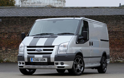 Latest Ford Transit SportVan comes in Moondust Silver paintwork with graphite bonnet stripes costing £23,670