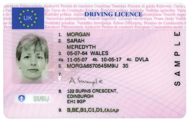 DVLA English full licence sample