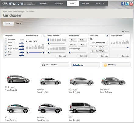 New Hyundai website includes section for business car managers and drivers