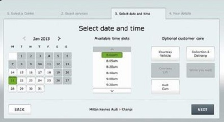 Audi online servicing booking system