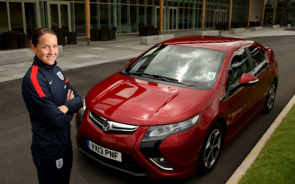 Casey Stoney and Vauxhall Ampera