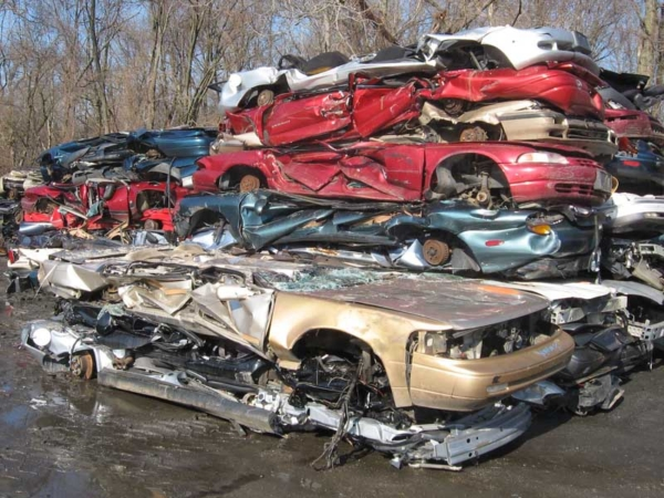 crushed, scrappped, cars