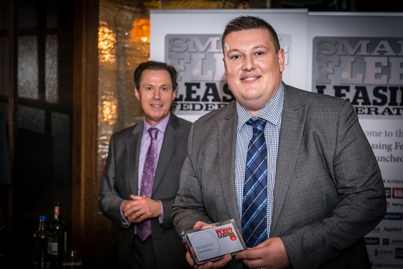 sfla 2015 Ian Evans Piper of Leasewell with the award for sub 250 fleet sales