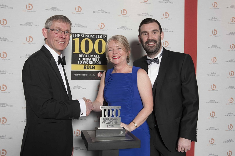 Storming success - Glenn Dimelow, Head of Research & Compliance in Best Companies, with The Right Fuelcard Company's Liz Slater and Adam Walsh