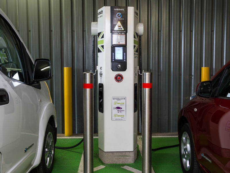 Nissan ev200 and Leaf at EV charging point