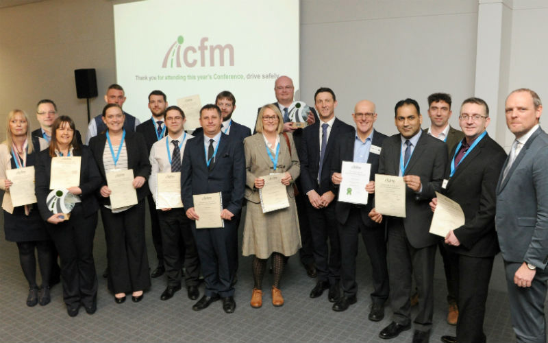 Fleet managers and their ICFM certificates with ICFM chairman Paul Hollick right and deputy chairman Steve Chater sixth from right