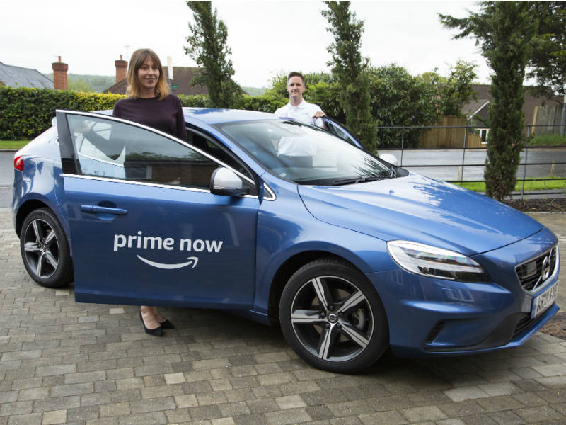 Driver with an Amazon Prime Now Volvo Vo