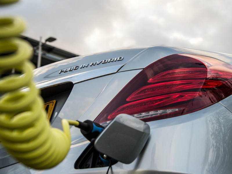 Plug in hybrid model being charged