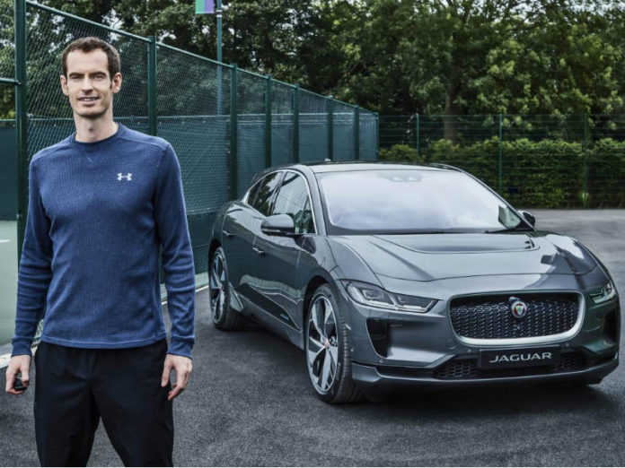 Sir Andy Murray with his electric Jaguar I-Pace
